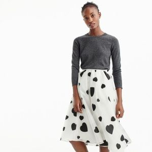 J.Crew Organza Skirt in Heart Print Size 2 NWT